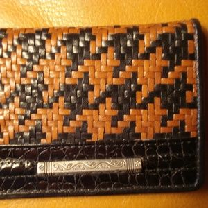 Accessories - Small black/brown woven leather credcard/ID holder